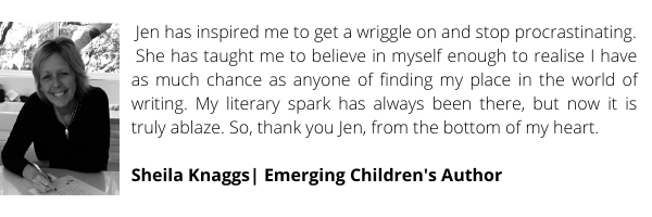 Step-by-straight-talking-step, Jen has helped me gain clarity and confidence, and provided a lot of laughs and friendships along the way, too - enriching both my creative and personal life... My kidlit career is now (2)